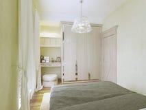 Design av det lilla moderna sovrummet Royaltyfria Bilder