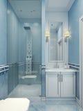 Design av det moderna blåa badrummet Arkivbild