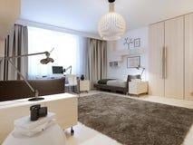 Design av det moderna sovrummet Fotografering för Bildbyråer