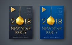 Design av en modern minimalist reklamblad för partiet för nytt år Arkivfoton