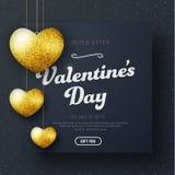 Design av ett baner för svart fyrkant för dagen Sale för valentin` s Royaltyfri Fotografi