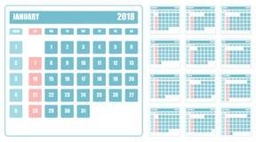 Design av kalendern för 2018 Plan illustration Royaltyfri Bild