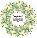Design av kortet med den blom- kransen Royaltyfri Bild