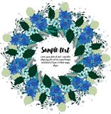 Design av kortet med den blom- kransen Royaltyfria Foton