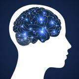 Design av mänsklig intelligens i aktiv hjärna på blå bakgrund Arkivbild