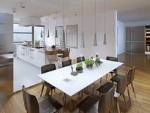 Design av modernt kök med matsal arkivbilder