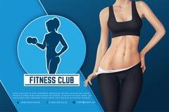 Design av rengöringsdukbanret av emblemet för konditionklubba Kontur av den idrotts- kvinnan med hanteln Arkivfoto