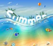 Design av sommar, bokstäver som är undervattens- med palmträd, djurliv Fotografering för Bildbyråer