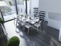 Design av tekniskt avancerat äta middag med det panorama- fönstret Royaltyfri Bild