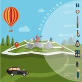 design av utforskaren med kikaren och ballongen på översikt med annonsen royaltyfri illustrationer