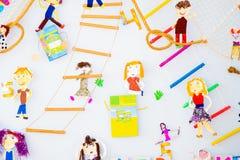 Design av väggen för barn` s i rummet royaltyfri illustrationer
