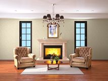 Design av vardagsrum med spisen och två fåtöljer fotografering för bildbyråer