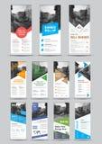 Design av vita rull-uppbaner för vektor med rundan, fyrkant, diago stock illustrationer
