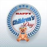 Celebrating of Children`s day. Design, background with 3d texts, teddy bear wearing bow tie for Children`s day, event, celebration; Vector illustration Stock Photos