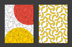Design background with doodle bananas. Sketch bananas Royalty Free Stock Photos