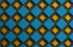 Design background with floating blue and yellow rhombuses of dif Stock Photos