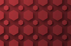 Design a background with flying red hexagons of different sizes Royalty Free Stock Photo