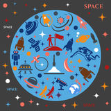Design background with the image of rockets, planets and astronafta Royalty Free Stock Photos
