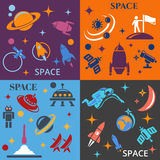 Design background with the image of rockets, planets and astronafta Stock Photo