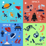 Design background with the image of rockets, planets and astronafta Stock Photos