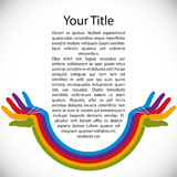 Design background with rainbow painted hands. Royalty Free Stock Image