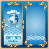 Design background for World Oceans day, celebration Royalty Free Stock Photos
