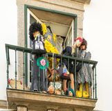 Design at balcony. Dummies at balcony for design store publicity at Braga, Portugal royalty free stock photos
