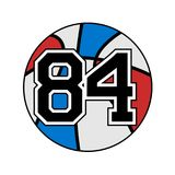 Ball of basketball with the number 84. Design of ball of the basketball with the number 84 Royalty Free Stock Photography