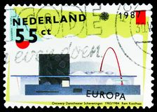 Design for the ballet theatre, Scheveningen, Europa C.E.P.T. serie, circa 1987. MOSCOW, RUSSIA - MARCH 30, 2019: A stamp printed in Netherlands shows Design for stock image