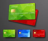 Design of a bank credit debit card. Templates with colored polygonal abstract elements. Vector illustration. Set Stock Photos