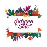 Design banner with autumn sale logo. Discount card for fall season with white frame and herb. Promotion offer with Royalty Free Stock Image