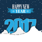 Design banner Happy New Year with a ribbon. Template winter snowy mountains, and the text between them in 2017 against the backdrop of night sky. Vector Stock Photo