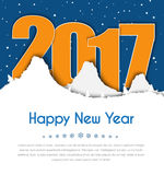 Design banner Happy New Year. Template winter snowy mountains, and the text between them in 2017 against the backdrop of night sky. Vector illustration Stock Images