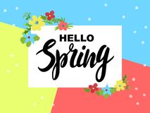 Design of banner Hello Spring Lettering on color background stock image