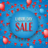 Design of banner of Labor Day sale. Vector background of sale with photorealistic garland with flags, balloons and place for text Royalty Free Stock Photo