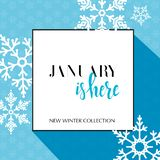 Design banner with lettering January is here logo. Light blue Card for season sale with black frame and white snowflakes. vector illustration