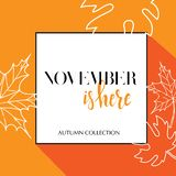 Design banner with lettering november is here logo. Orange Card for fall season with black frame and white maple leaves. Promotion vector illustration