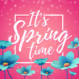 Design banner it`s spring time. Flyer for  spring season with square frame. Poster with blue flower decoration on pin Stock Photos