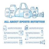 Design of the banner about sports nutrition. Infographics for healthy nutrition of athletes. Template flyer or brochure. About supplements and vitamins to the stock illustration