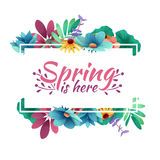 Design banner with spring is here logo. Card for spring season with white frame and herb. Promotion offer with sprin stock illustration