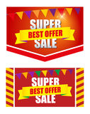 Design banner template discounts. On a white background. big sale, isolated. Sale and special offer stock illustration