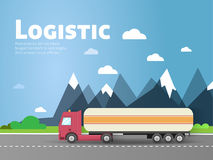 Design for banner, truck. Color flat icons. Dump truck, tank Royalty Free Stock Image