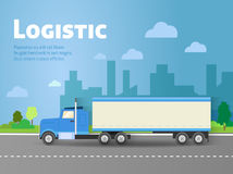 Design for banner, truck. Color flat icons. Dump truck, tank Stock Image