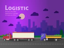 Design for banner, truck. Color flat icons. Dump truck, tank Royalty Free Stock Images