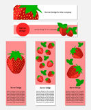 Design of Banners with Fresh Strawberry Stock Image