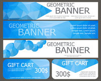 Design of  banners and gift cards with blue polygonal elements. Stock Image