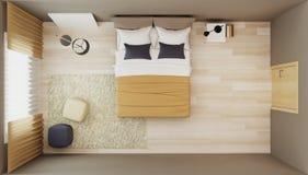 Design bedroom in warm ton. 3D rendering Stock Photos
