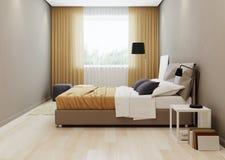 Design bedroom in warm ton. 3D rendering Royalty Free Stock Photo