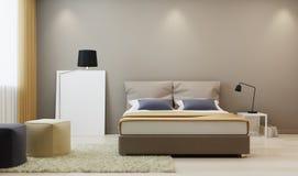 Design bedroom in warm ton. 3D rendering Royalty Free Stock Photos