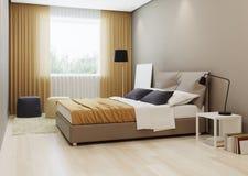 Design bedroom in warm ton. 3D rendering Stock Image
